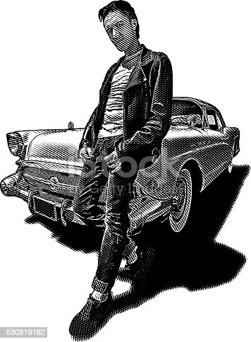1950's bad boy wearing leather jacket with vintage car. Isolated on white.