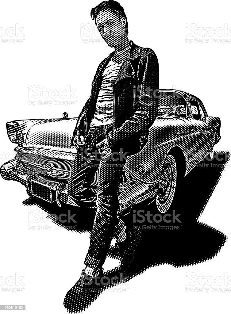 Retro Dude with Vintage Car vector art illustration