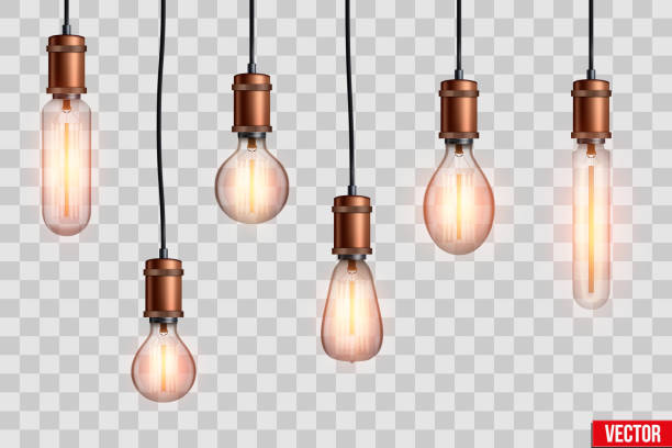 retro edison light bulb set - wisieć stock illustrations