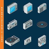 Retro electronic icons collection