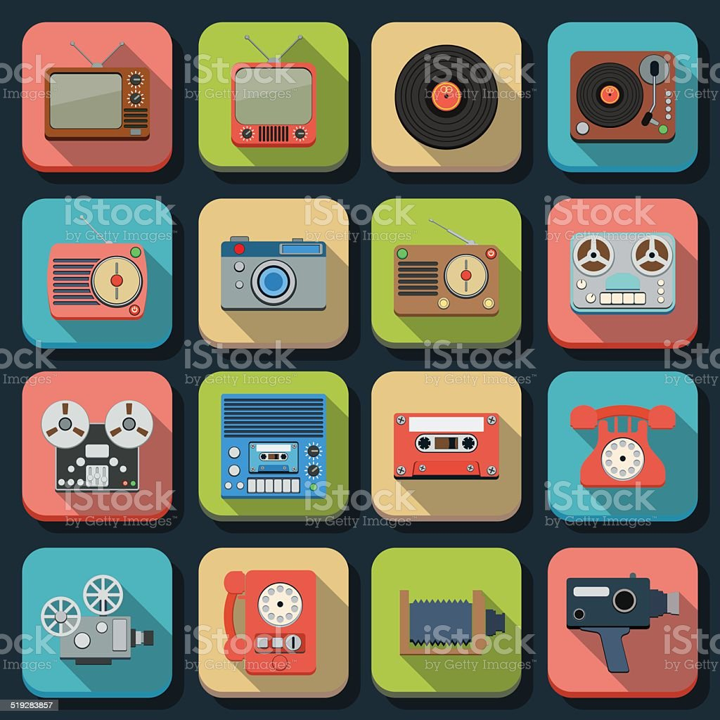 Retro electronic icons vector art illustration