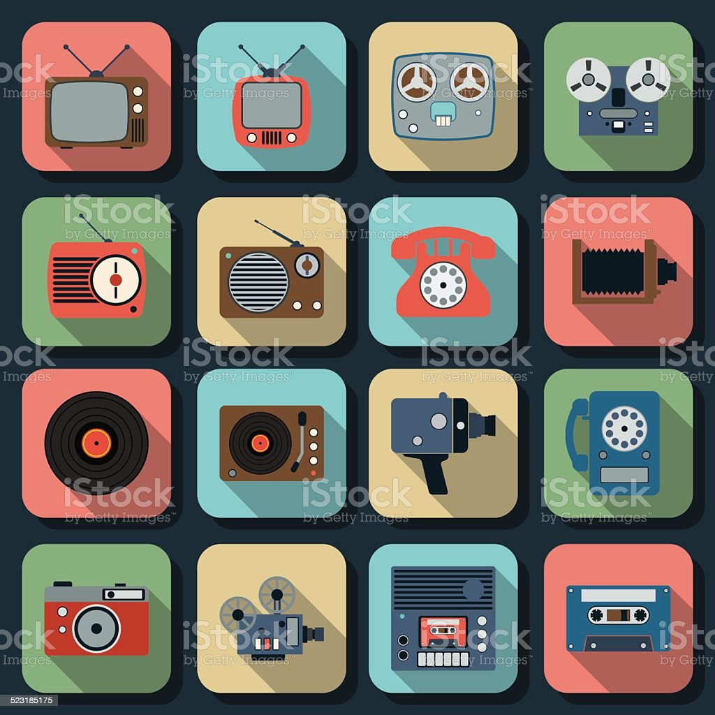 Retro electronic vector art illustration