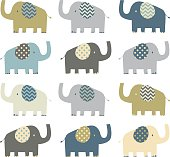 Retro Elephant pattern