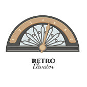 Retro elevator part that shows number of floor. Vintage lift detail with golden pointer and semi-circle with metal curves isolated realistic vector illustration.