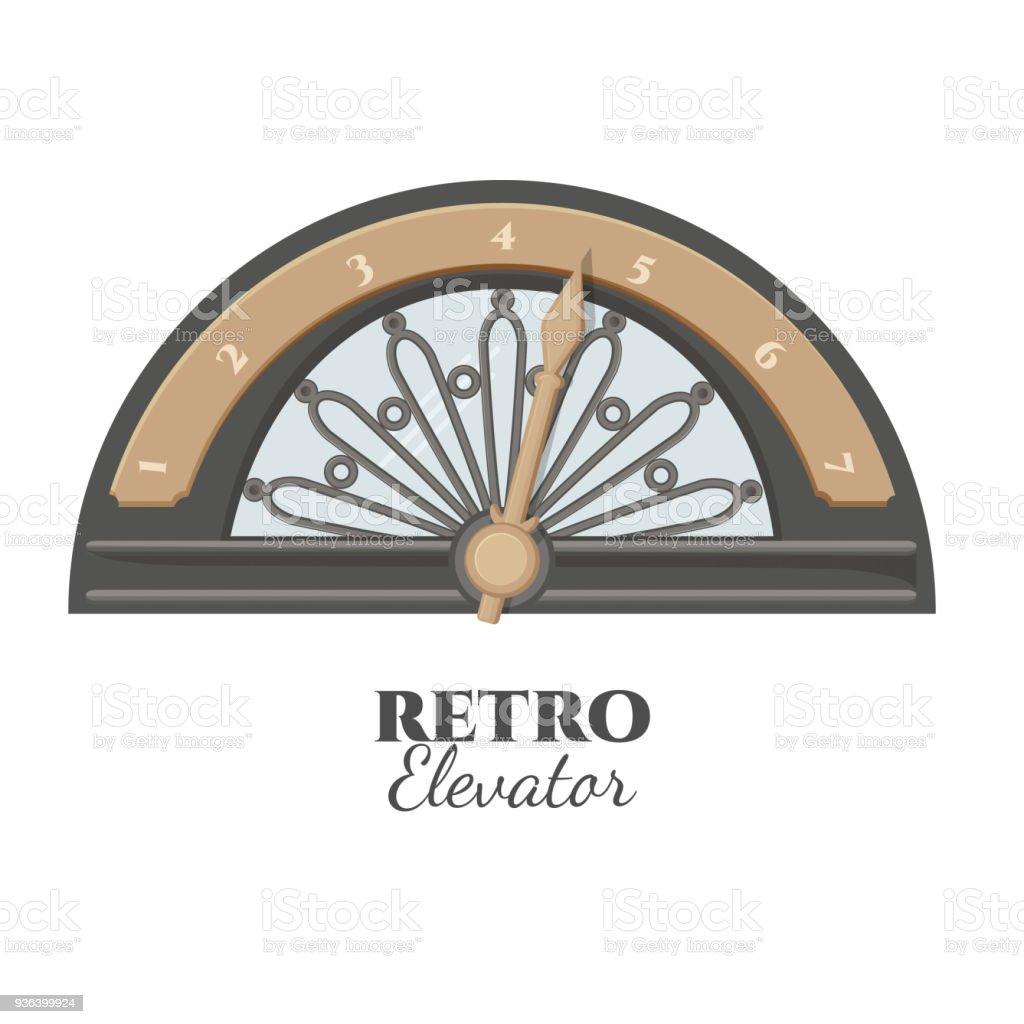Retro elevator part that shows number of floor vector art illustration