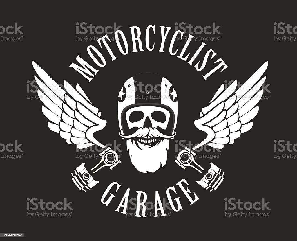 retro emblem motorcyclist vector art illustration