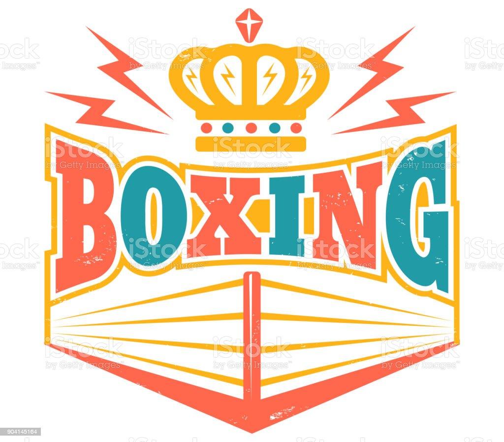 Retro emblem with boxing ring. vector art illustration
