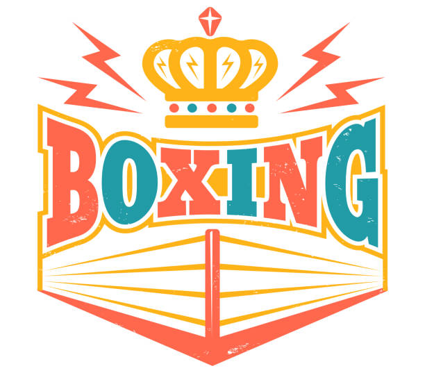 retro emblem with boxing ring. - wrestling stock illustrations, clip art, cartoons, & icons