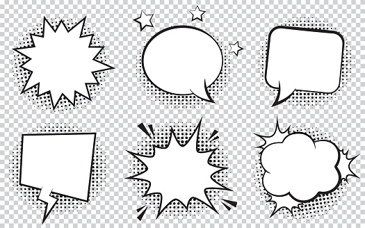 Retro empty comic bubbles and elements set with black halftone shadows on transparent background. clipart