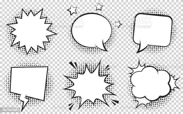 Retro empty comic bubbles and elements set with black halftone on vector id952630682?b=1&k=6&m=952630682&s=612x612&h=gwsjqg33nvocsc3jqgqz5fmcwyksoaodmva0pnie8vm=