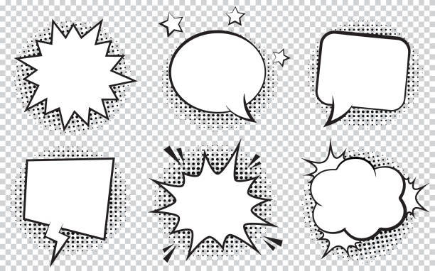 retro empty comic bubbles and elements set with black halftone shadows on transparent background. - comic book stock illustrations