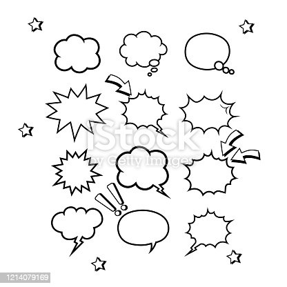 Retro empty comic bubbles or speech and thought set icon in white color on an isolated white background. Pop art style, vintage design. EPS 10 vector.