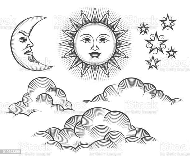 Retro engraved moon sun celestial faces vector id912693398?b=1&k=6&m=912693398&s=612x612&h=hoo6illmzysmltrbii5vypk7x5myj7eeddwb9i3usbs=