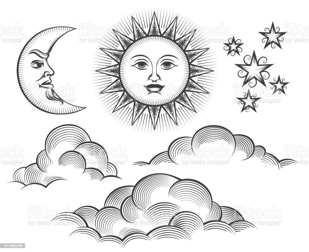 Retro engraved moon, sun celestial faces vector art illustration