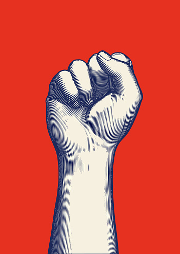Monochrome blue vintage engraved drawing of human forearm and hand fist gesture raise up vector illustration isolated on red background