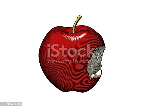 istock Retro engraving of a bitten apple vector illustration 1276470230