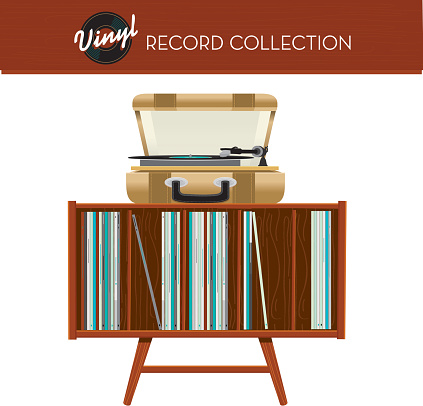 Retro entertainment furniture with record collection