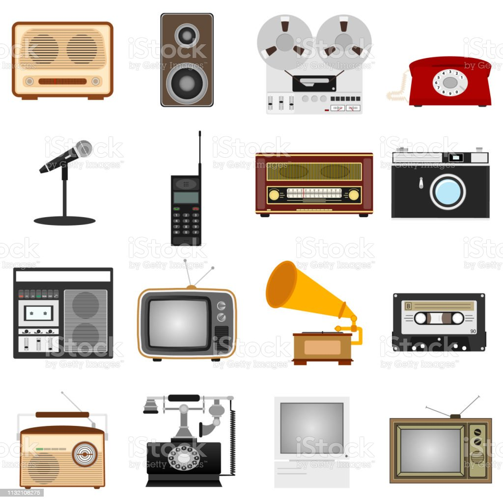 Retro equipment. Set of old electronic equipment. Vector illustration of retro technology.