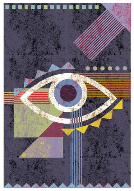 Retro eye illustration background vector art illustration