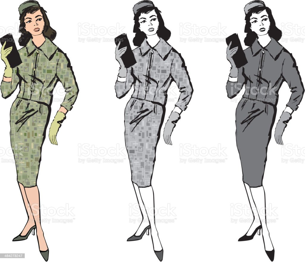 Retro fashion dressed woman. 1960s office style. Vector set vector art illustration