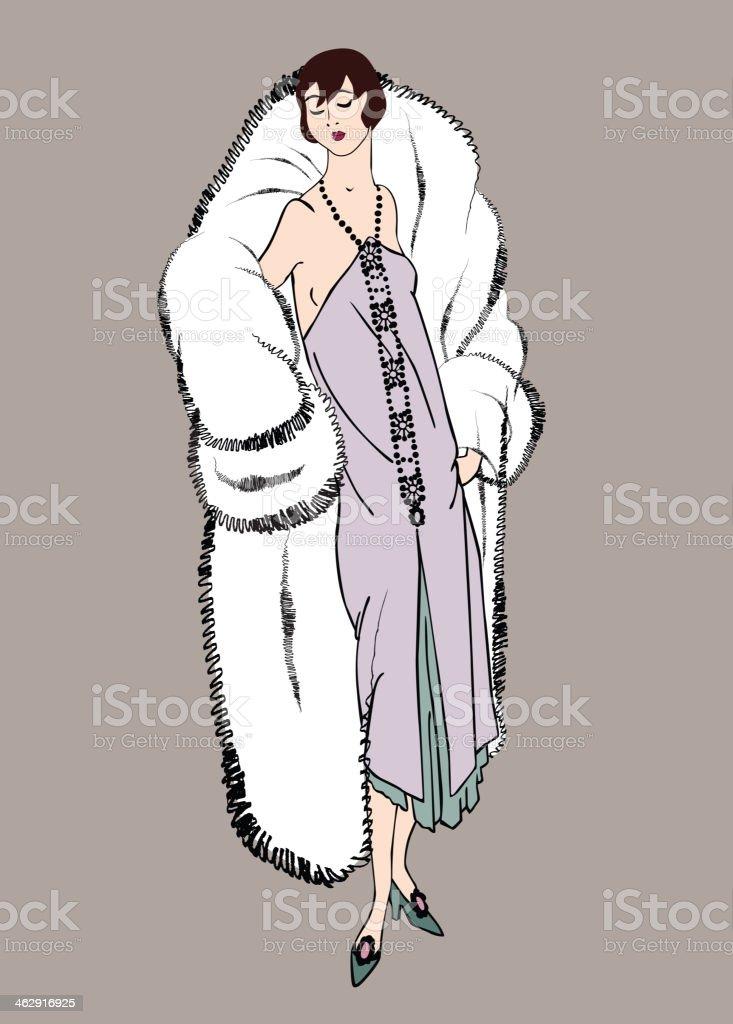 Retro fashion dressed woman. 19620s - 1930s style. Vector set vector art illustration