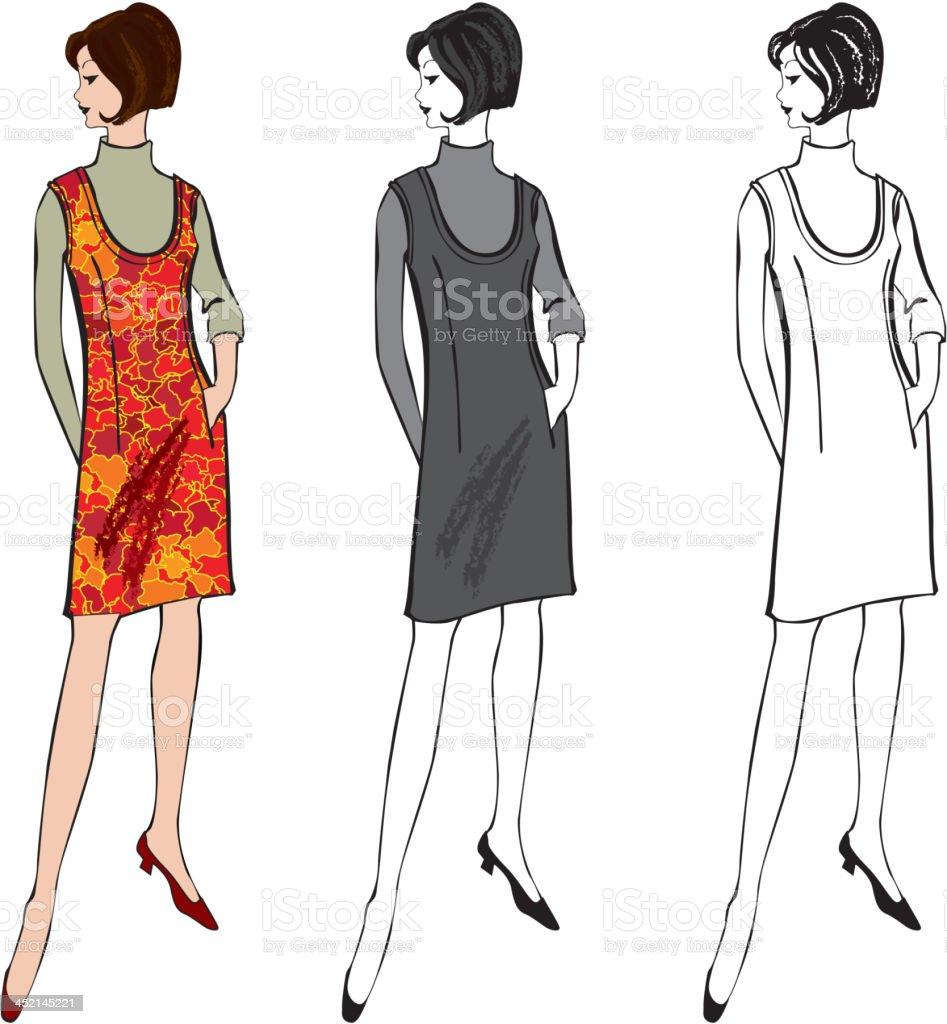 レトロなファッションのおしゃれな女性ベクトルセット - 1950~1959年の