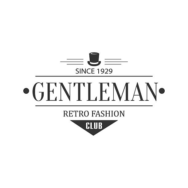 retro fashion gentleman club label design - 1920 1929 stock illustrations