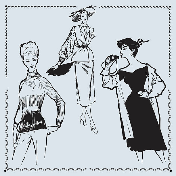 retro fashion models - 1940s style stock illustrations