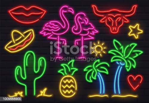 Retro fashion neon sign. Glowing fluorescent cactus, pink flamingo and bull signs lighting design. Bright palm lights, sombrero woman lips and pineapple for bar decoration vector isolated icon set