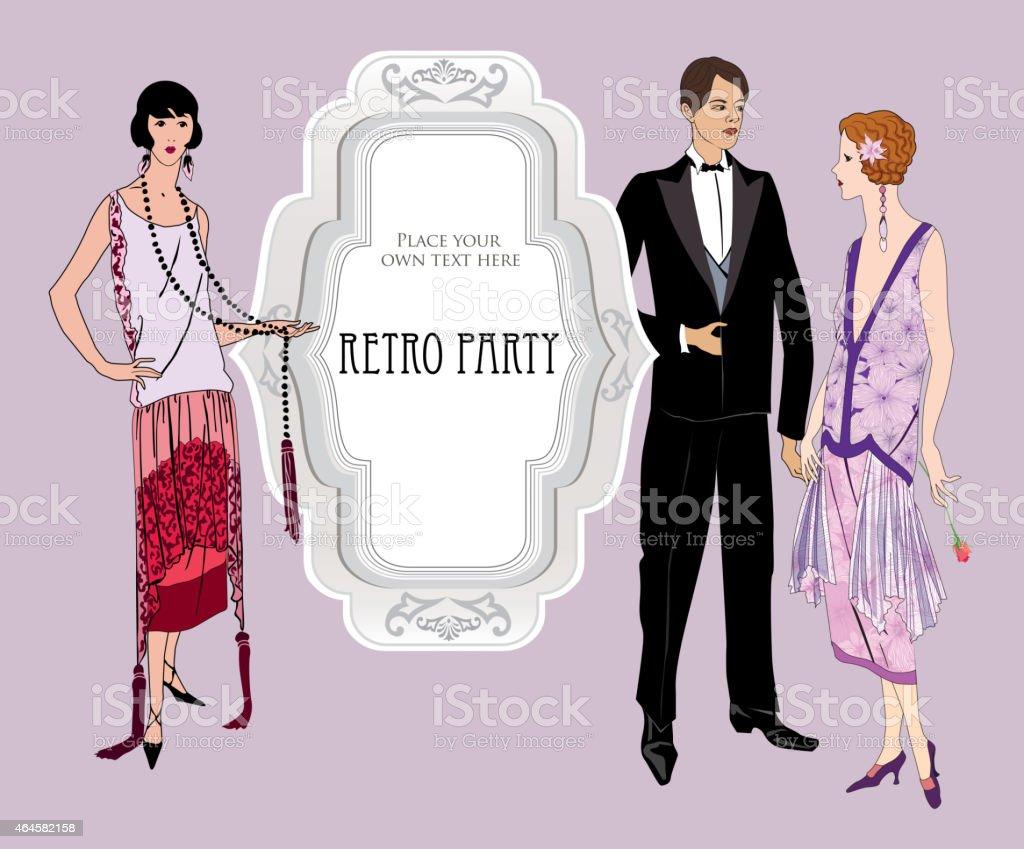 Ilustración de Retro Invitación De Moda En Estilo De La Década De ...