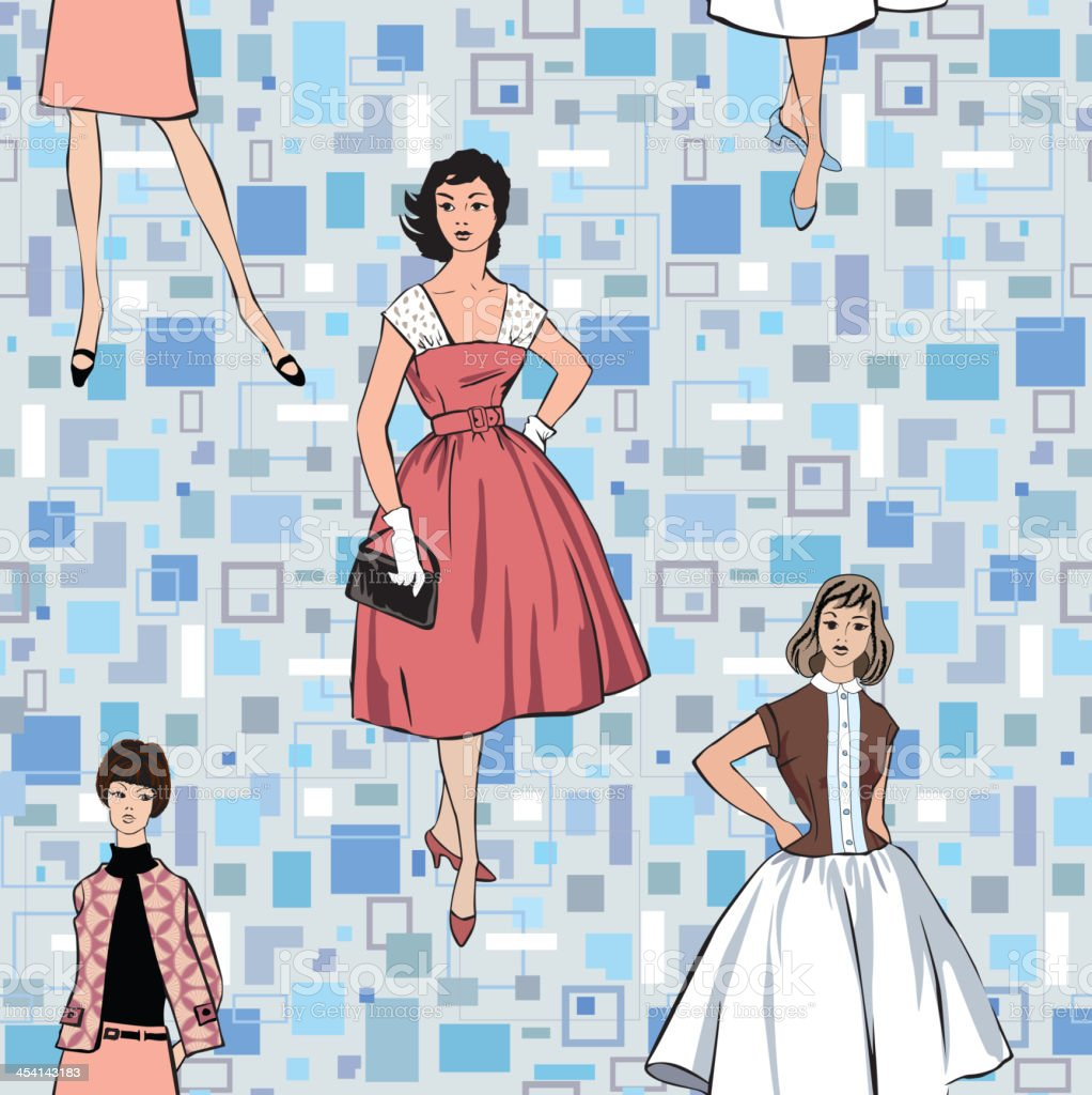Ilustración de Moda Retro Fondo Sin Costuras y más banco de imágenes ...