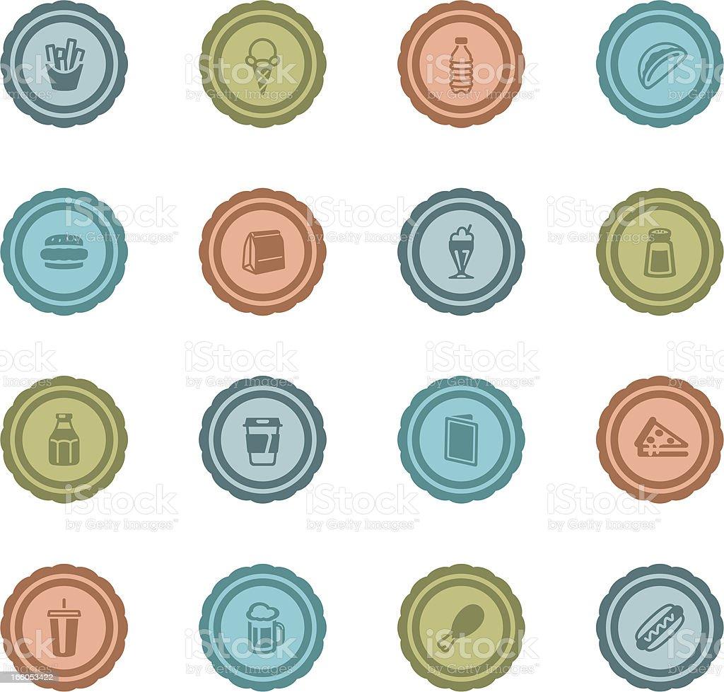 Retro Fast Food Badges vector art illustration
