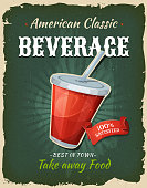 Illustration of a design vintage and grunge textured poster, with drink icon, for fast food snack and takeaway menu