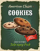 Illustration of a design vintage and grunge textured poster, with chocolate cookies, for fast food snack and takeaway menu