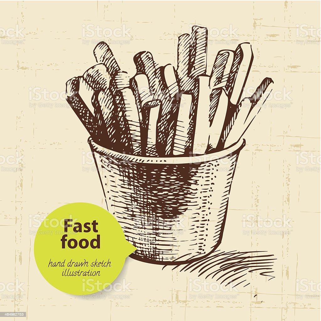 fast food Vintage fundo com cor pensamento - ilustração de arte em vetor