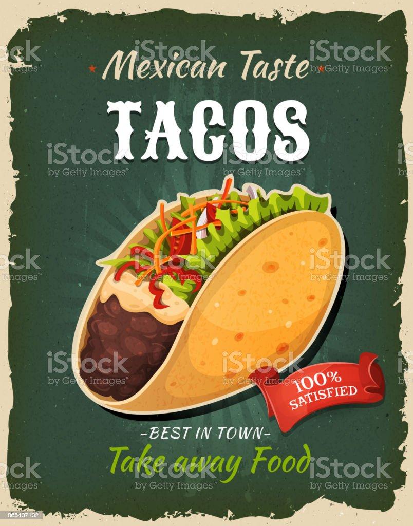 Comida rápida retro póster de Tacos mexicanos - ilustración de arte vectorial