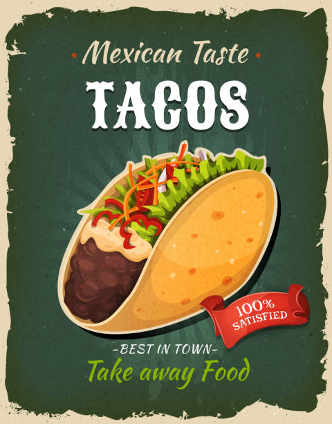 retro fast food mexican tacos poster - mexican food stock illustrations, clip art, cartoons, & icons