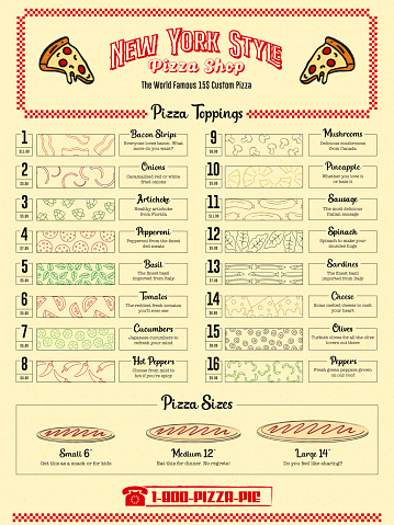 Retro Fast Food Restaurant Menu with Outline Ingredient Icons for Ordering Delivery or Takeaway in Deli Style