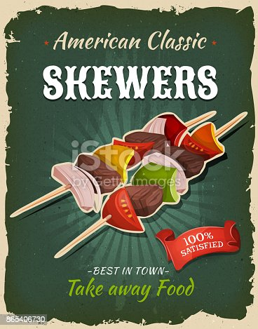 Illustration of a design vintage and grunge textured poster, with bbq skewers, for fast food snack and takeaway menu