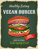 Illustration of a design vintage and grunge textured poster, with appetizing vegetarian burger icon, for fast food snack and takeaway menu