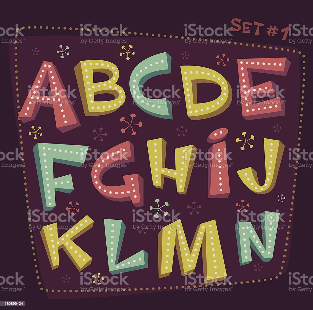 Retro Fifties style colorful vector alphabet vector art illustration