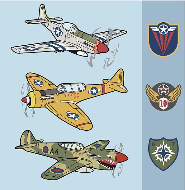 retro fighter planes set 1 - world war ii stock illustrations, clip art, cartoons, & icons