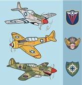 Retro fighter planes set 1