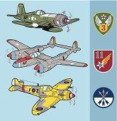 Retro fighter planes set 2