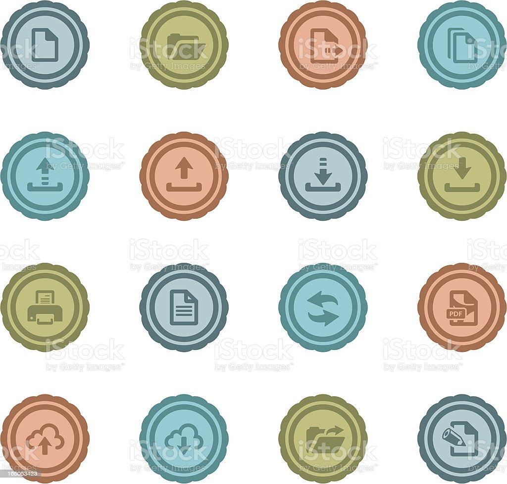 Retro File Transfer Badges royalty-free retro file transfer badges stock vector art & more images of arrow symbol