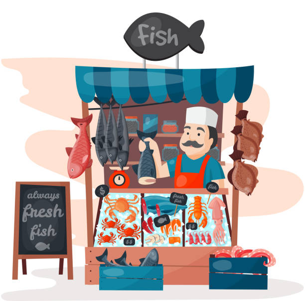 illustrazioni stock, clip art, cartoni animati e icone di tendenza di retro fish street shop store market with freshness seafood in fridge traditional asian meal and man dealer business person meat seller vector illustration - banchi di pesci