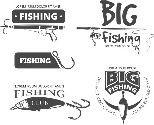 retro-fishing club vektor-abzeichen, etiketten, logos und embleme - angelhaken stock-grafiken, -clipart, -cartoons und -symbole