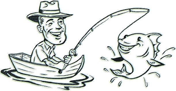 Retro Fishing vector art illustration