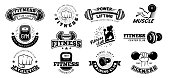 Retro fitness badges. Gym emblem, sport label and black stencil bodybuilding badge. Fit weight training workout logo, athlete team or gym sticker emblem. Isolated vector icons set