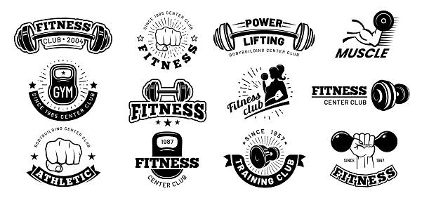 Retro fitness badges. Gym emblem, sport label and black stencil bodybuilding badge vector set